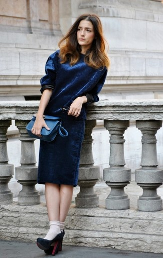 Reach for blue velvet dress to create a great weekend-ready look. Elevate this outfit with navy suede pumps. As you know, the trick to getting through the hottest time of year is opting for light and breezy looks like this one.