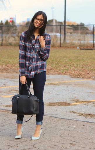 Women's Blue Plaid Dress Shirt, Navy Skinny Jeans, Light Blue Leather Pumps, Black Leather Duffle Bag