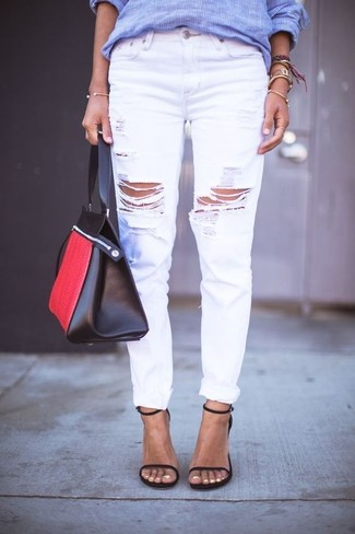 How to wear: blue vertical striped dress shirt, white ripped boyfriend jeans, black leather heeled sandals, red and black leather tote bag