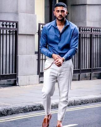 Modern Fit Solid Sateen Dress Shirt Blue