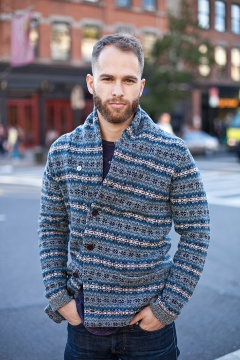 Men's Blue Fair Isle Shawl Cardigan, Navy Crew-neck T-shirt, Navy ...