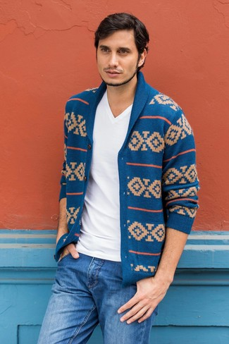 How to Wear a Blue Fair Isle Shawl Cardigan (10 looks) | Men's Fashion