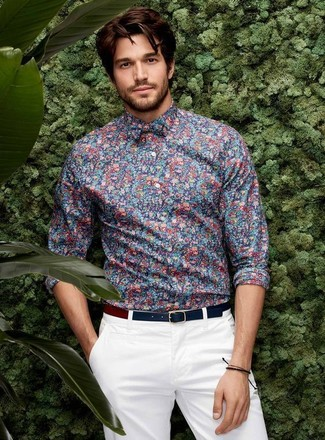 How to wear: blue floral dress shirt, white chinos, navy leather belt