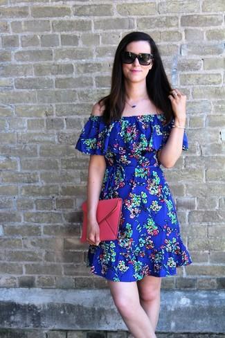 Women's Blue Floral Off Shoulder Dress, Hot Pink Leather Clutch, Blue Pendant