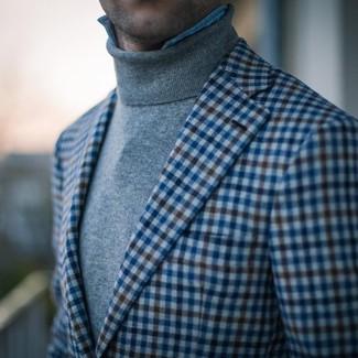 How to wear: blue gingham blazer, grey turtleneck, light blue denim shirt