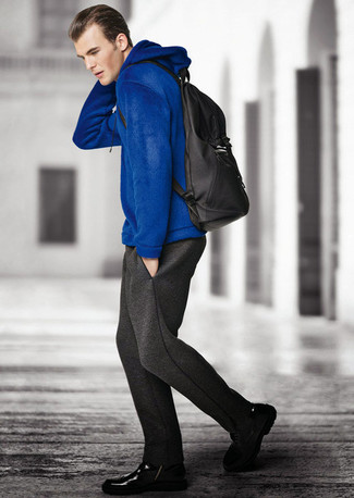 Men's Blue Hoodie, Charcoal Sweatpants, Black Leather Casual Boots, Black Backpack