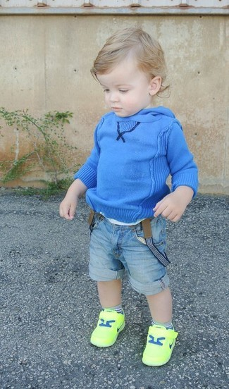 How to Wear Light Blue Denim Shorts For Boys: Opt for your little guy's comfort with this combo of a blue hoodie and light blue denim shorts. Green-yellow sneakers are a great choice to round off this look.