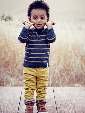 Boys' Blue Horizontal Striped Hoodie, Mustard Trousers, Brown Leather Sneakers