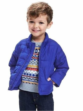 Boys' Blue Jacket, Light Blue Sweater, Navy Jeans