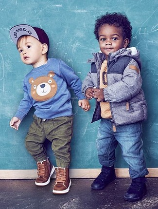 How to Wear a Blue Jacket For Boys: Suggest that your little guy pair a blue jacket with blue jeans for a laid-back yet fashion-forward outfit. Round off this outfit with black sneakers.
