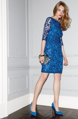 How to Wear Blue Suede Pumps: Consider wearing a blue lace bodycon dress for a functional look that's also pulled together. Go ahead and introduce blue suede pumps to the mix for some extra polish.