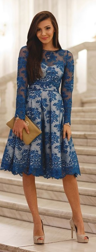 How to wear: blue lace skater dress, beige leather pumps, tan leather clutch