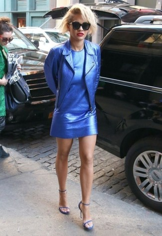 How to wear: blue leather biker jacket, blue leather shift dress, blue leather heeled sandals