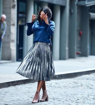 How to wear: blue long sleeve blouse, silver pleated midi skirt, pink velvet ankle boots