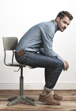 Try teaming a blue chambray button-down shirt with charcoal jeans for a Sunday lunch with friends. Brown suede derby shoes will instantly smarten up even the laziest of looks.