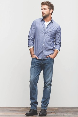 How to wear: blue long sleeve shirt, white long sleeve henley shirt, blue jeans, black leather desert boots