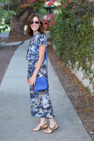 How to wear: blue floral midi dress, gold leather flat sandals, blue leather crossbody bag, brown sunglasses