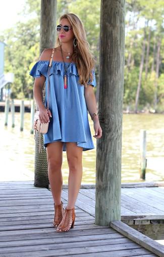 How to wear: blue off shoulder dress, brown leather heeled sandals, beige leather crossbody bag, orange pendant