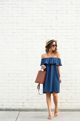 How to wear: blue off shoulder dress, tan leather mules, brown leather crossbody bag, beige straw hat