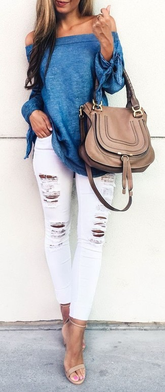 How to wear: blue off shoulder top, white ripped skinny jeans, beige leather heeled sandals, brown leather satchel bag