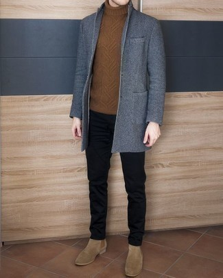 How to Wear Tan Suede Chelsea Boots For Men: This semi-casual combo of a blue overcoat and black chinos is super easy to pull together in no time, helping you look amazing and ready for anything without spending a ton of time going through your wardrobe. Puzzled as to how to complement your getup? Wear tan suede chelsea boots to step up the fashion factor.