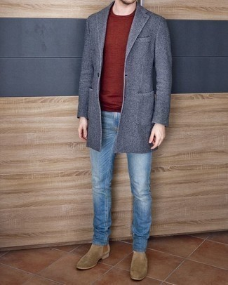 How to Wear Tan Suede Chelsea Boots For Men: This combination of a blue overcoat and light blue jeans is a goofproof option when you need to look casually smart but have no time to dress up. A pair of tan suede chelsea boots immediately amps up the wow factor of this outfit.