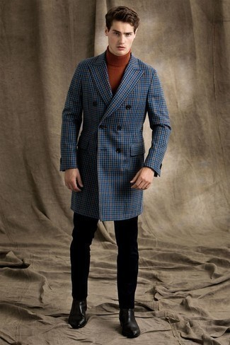 1200+ Chill Weather Outfits For Men: For an ensemble that's effortlessly elegant and gasp-worthy, wear a blue check overcoat with black chinos. Wondering how to finish off this outfit? Round off with a pair of black leather chelsea boots to ramp up the classy factor.