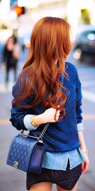 A baby blue denim shirt and a black quilted mini skirt are a perfect combination to be utilised at the weekend.
