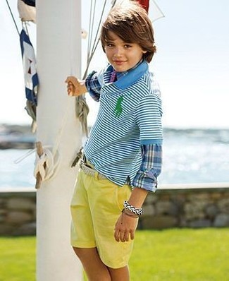 How to wear: blue plaid long sleeve shirt, aquamarine horizontal striped polo, yellow shorts