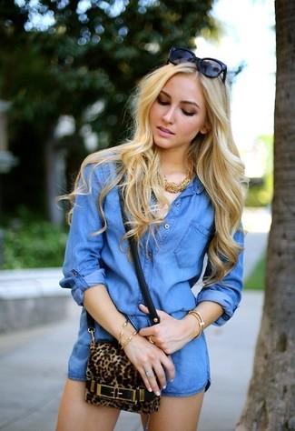 How to wear: blue denim playsuit, brown leopard crossbody bag, black sunglasses, gold necklace