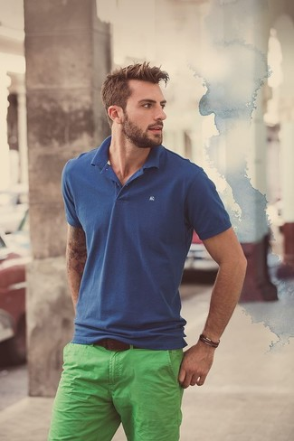 Men's Blue Polo, Green Chinos, Brown Leather Belt