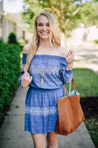 Women's Blue Print Off Shoulder Dress, Tobacco Leather Tote Bag, Green Pendant