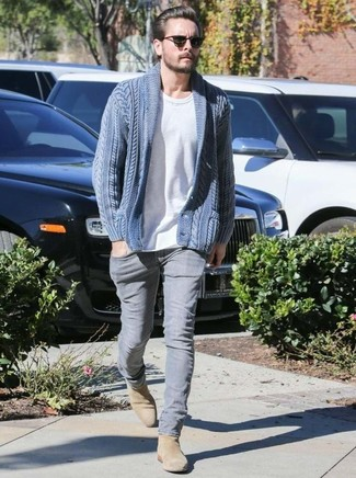How to wear: blue shawl cardigan, white crew-neck t-shirt, grey jeans, tan suede chelsea boots
