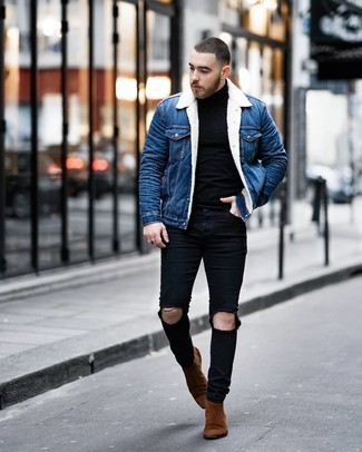 Blue Denim Shearling Jacket Outfits For Men: A blue denim shearling jacket and black ripped skinny jeans are a nice pairing worth having in your daily wardrobe. Feeling venturesome today? Shake up this look by finishing with a pair of brown suede chelsea boots.