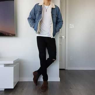 Shearling Jacket Outfits For Men: A perfectly pulled together casual combo of a shearling jacket and black ripped jeans will set you apart instantly. Add a pair of dark brown suede chelsea boots to the mix for an instant style fix.