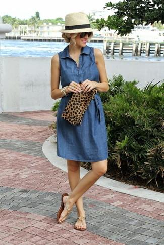 Women's Blue Denim Shirtdress, Gold Leather Thong Sandals, Tan Leopard Suede Clutch, Beige Straw Hat