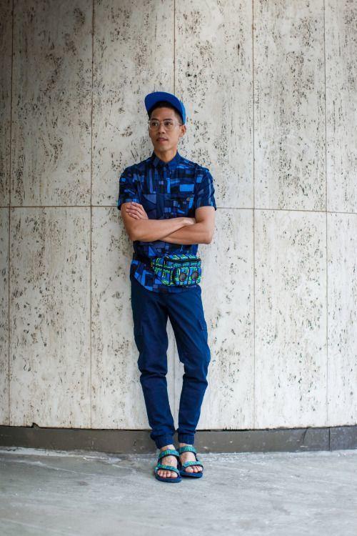 1a2cb6f84a2e4d Men s Blue Geometric Short Sleeve Shirt