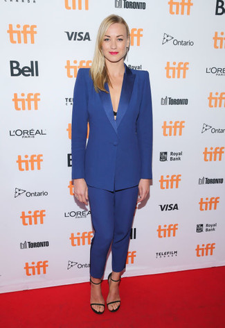 How to wear: blue suit, black suede heeled sandals