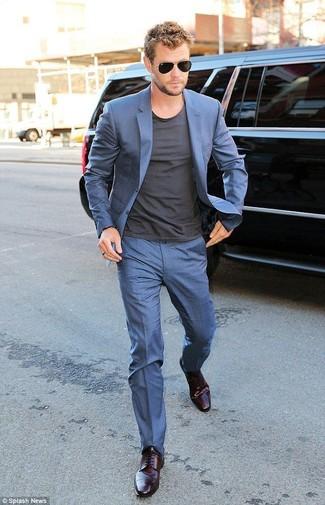 Blue suit charcoal crew neck t shirt dark purple derby shoes black sunglasses large 12329