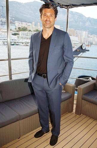 Patrick Dempsey Wearing Blue Suit Dark Brown V Neck Sweater Dark