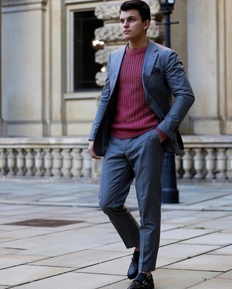 500+ Spring Outfits For Men: Go all out in a blue suit and a hot pink crew-neck sweater. Black leather double monks integrate really well within a variety of looks. As the weather is getting warmer, it's time to  get rid of those bulky winter layers and opt for something lighter, like this outfit here.