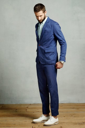 How to wear: blue suit, mint vertical striped dress shirt, white leather derby shoes
