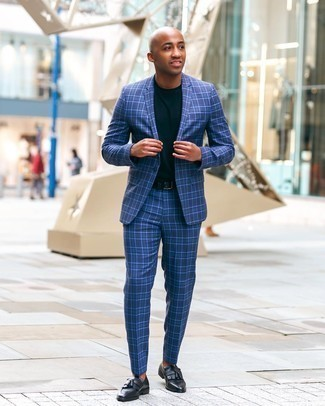 Men's Outfits 2020: Infuse effortless sophistication into your daily routine with a blue plaid suit and a navy crew-neck t-shirt. A nice pair of black leather tassel loafers is the most effective way to transform this look.