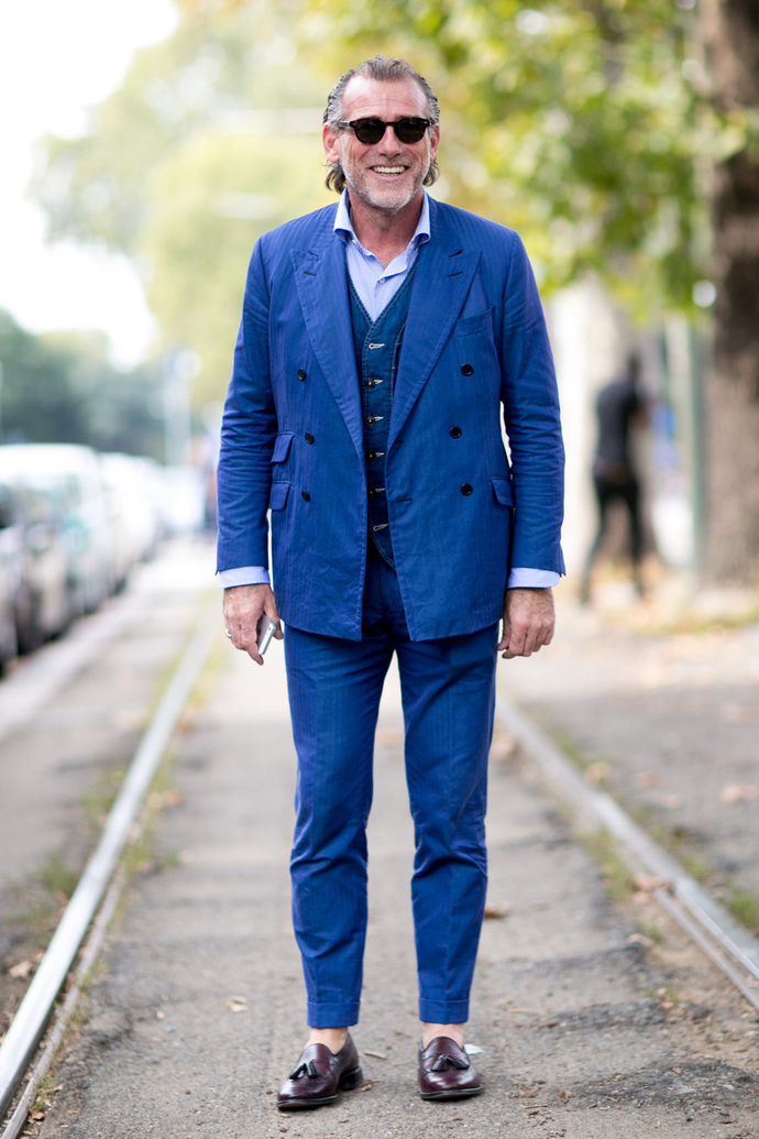 Alessandro Squarzi wearing Blue Suit, Navy Denim Waistcoat, Light