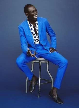 How to wear: blue suit, white and navy polka dot long sleeve shirt, navy leather loafers