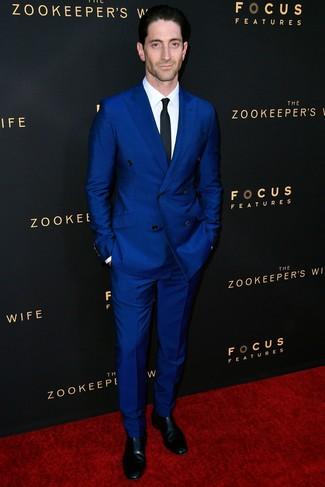 Blue Suit with Black Chelsea Boots