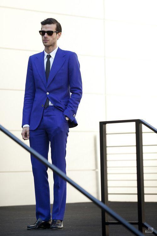 Men's Blue Suit, White Dress Shirt, Black Leather Loafers, Black