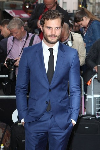 Jamie Dornan wearing Blue Suit, White Dress Shirt, Black Tie