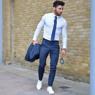 Men's Blue Suit, White Dress Shirt, White Plimsolls, Blue Polka ...