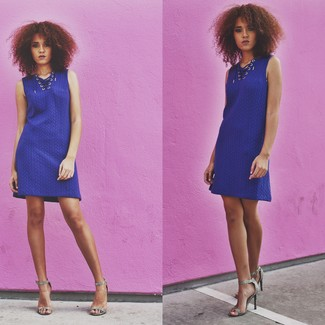 How to wear: blue sweater dress, grey snake leather heeled sandals